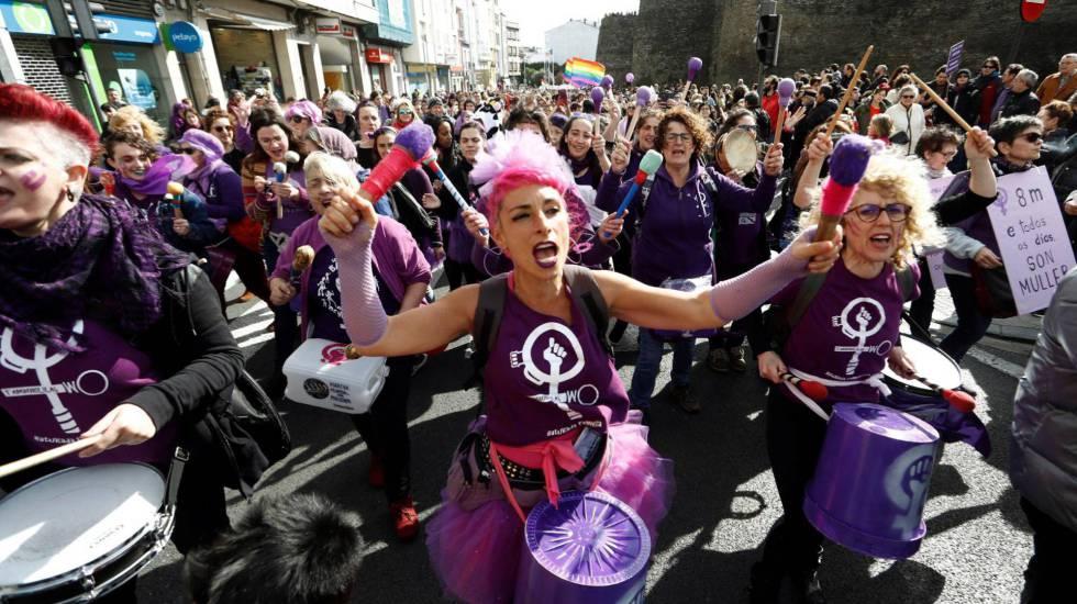 Feministas gallegas el pasado fin de semana en un acto previo al 8M.